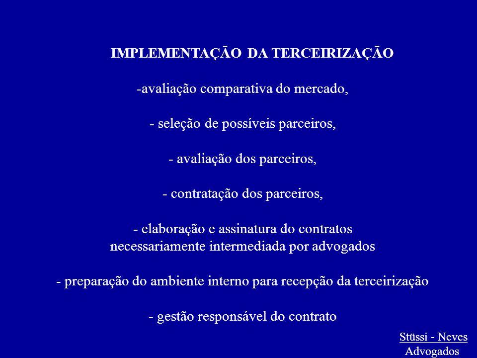 IMPLEMENTAÇÃO DA TERCEIRIZAÇÃO -avaliação comparativa do mercado, - seleção de possíveis parceiros, - avaliação dos parceiros, - contratação dos parce