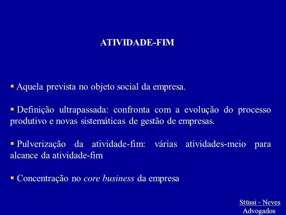 ATIVIDADE-FIM  Aquela prevista no objeto social da empresa.  Definição ultrapassada: confronta com a evolução do processo produtivo e novas sistemát