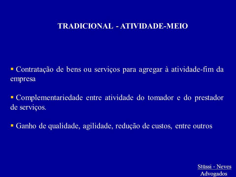 - TRADICIONAL - ATIVIDADE-MEIO  Contratação de bens ou serviços para agregar à atividade-fim da empresa  Complementariedade entre atividade do tomad