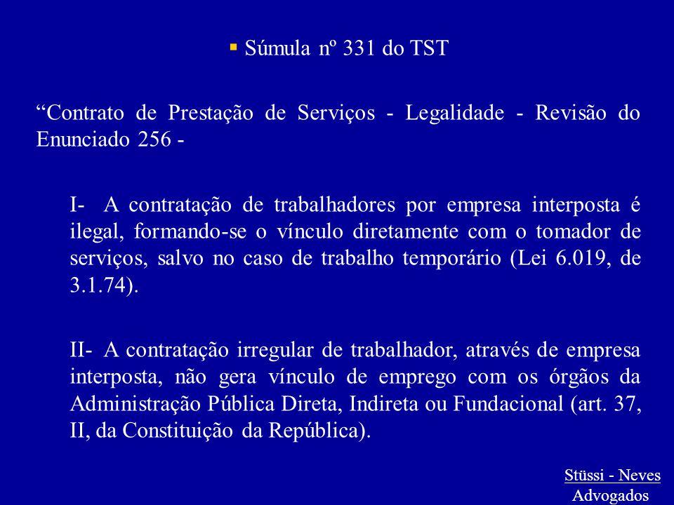 """ Súmula nº 331 do TST """"Contrato de Prestação de Serviços - Legalidade - Revisão do Enunciado 256 - I-A contratação de trabalhadores por empresa inter"""