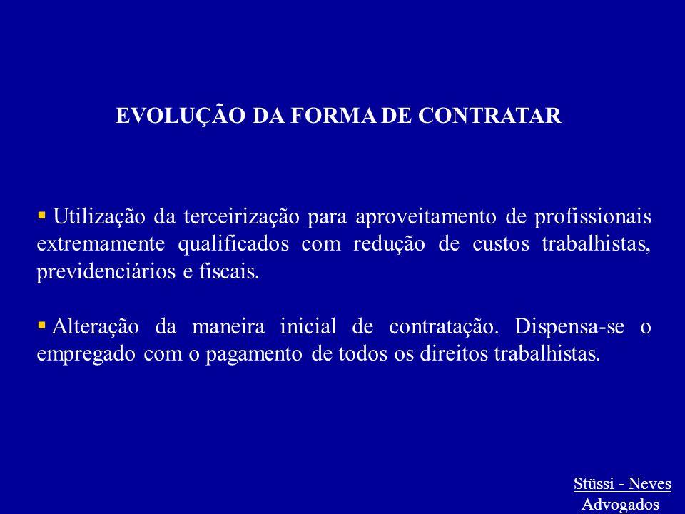 EVOLUÇÃO DA FORMA DE CONTRATAR  Utilização da terceirização para aproveitamento de profissionais extremamente qualificados com redução de custos trab