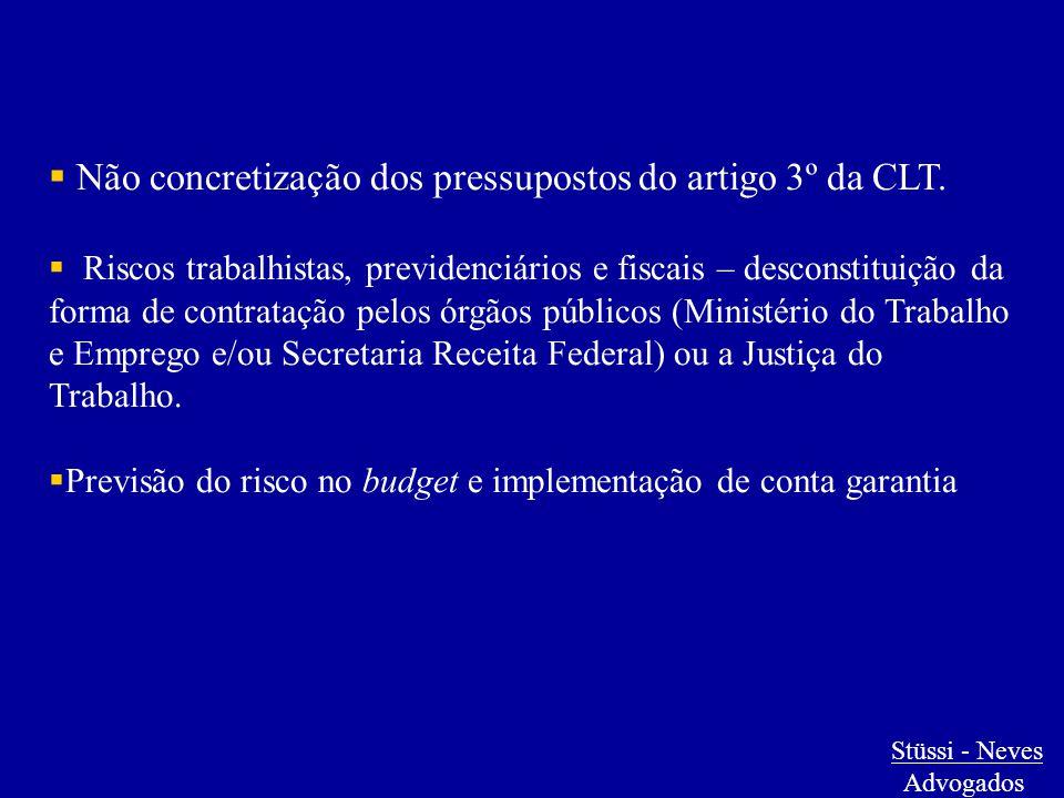  Não concretização dos pressupostos do artigo 3º da CLT.  Riscos trabalhistas, previdenciários e fiscais – desconstituição da forma de contratação p