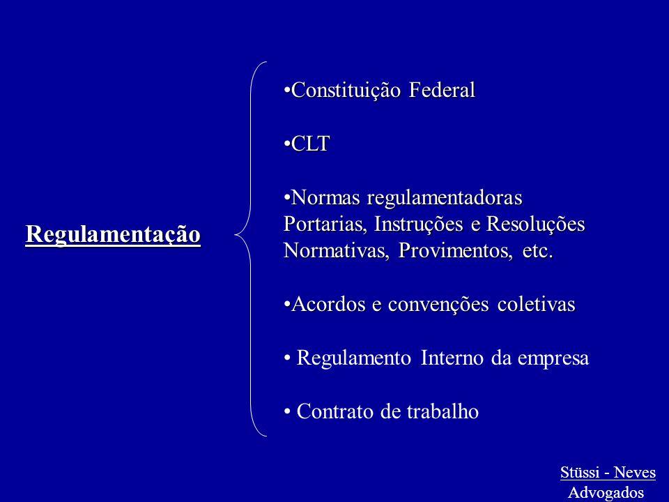 Regulamentação Constituição FederalConstituição Federal CLTCLT Normas regulamentadorasNormas regulamentadoras Portarias, Instruções e Resoluções Norma