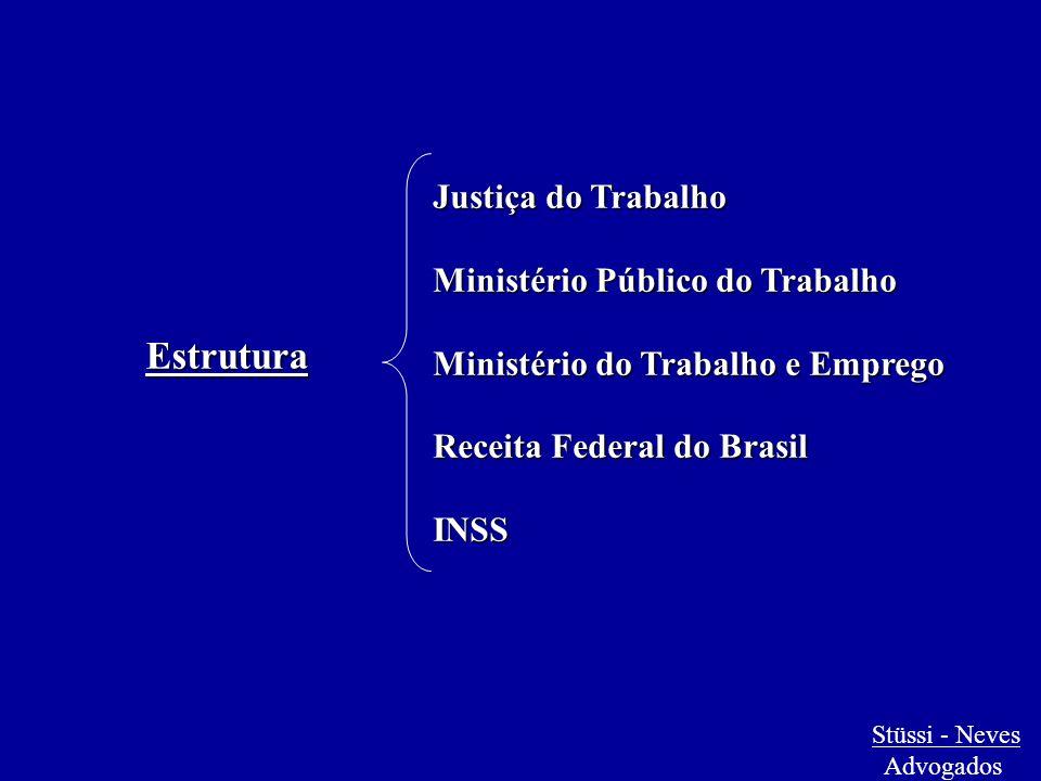 Justiça do Trabalho Ministério Público do Trabalho Ministério do Trabalho e Emprego Receita Federal do Brasil INSS Estrutura Stüssi - Neves Advogados