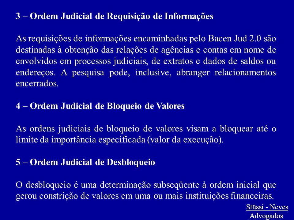 Stüssi - Neves Advogados 3 – Ordem Judicial de Requisição de Informações As requisições de informações encaminhadas pelo Bacen Jud 2.0 são destinadas