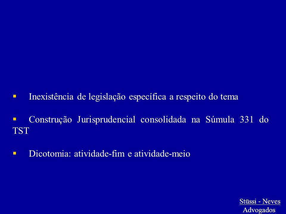  Inexistência de legislação específica a respeito do tema  Construção Jurisprudencial consolidada na Súmula 331 do TST  Dicotomia: atividade-fim e