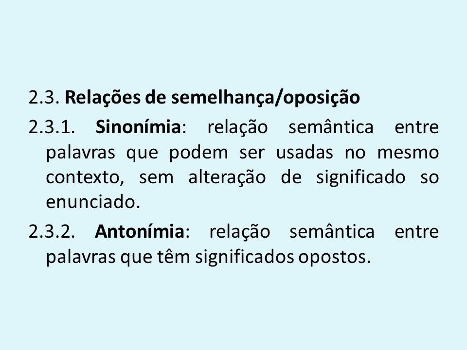2.3. Relações de semelhança/oposição 2.3.1. Sinonímia: relação semântica entre palavras que podem ser usadas no mesmo contexto, sem alteração de signi