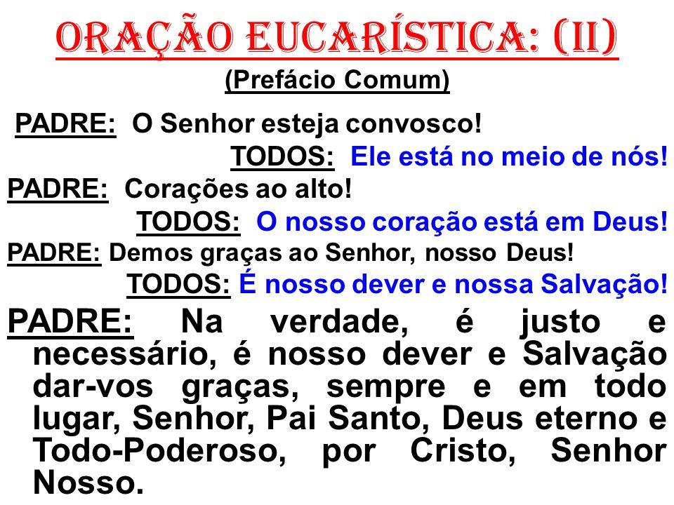 ORAÇÃO EUCARÍSTICA: (II) (Prefácio Comum) PADRE: O Senhor esteja convosco! TODOS: Ele está no meio de nós! PADRE: Corações ao alto! TODOS: O nosso cor