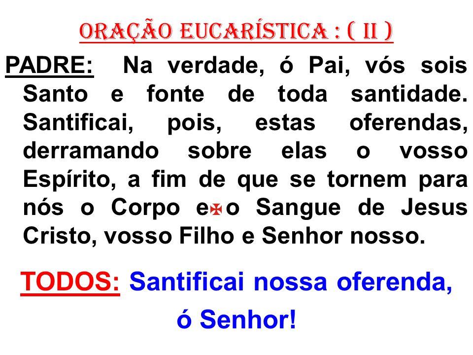 ORAÇÃO EUCARÍSTICA : ( II ) PADRE: Na verdade, ó Pai, vós sois Santo e fonte de toda santidade. Santificai, pois, estas oferendas, derramando sobre el