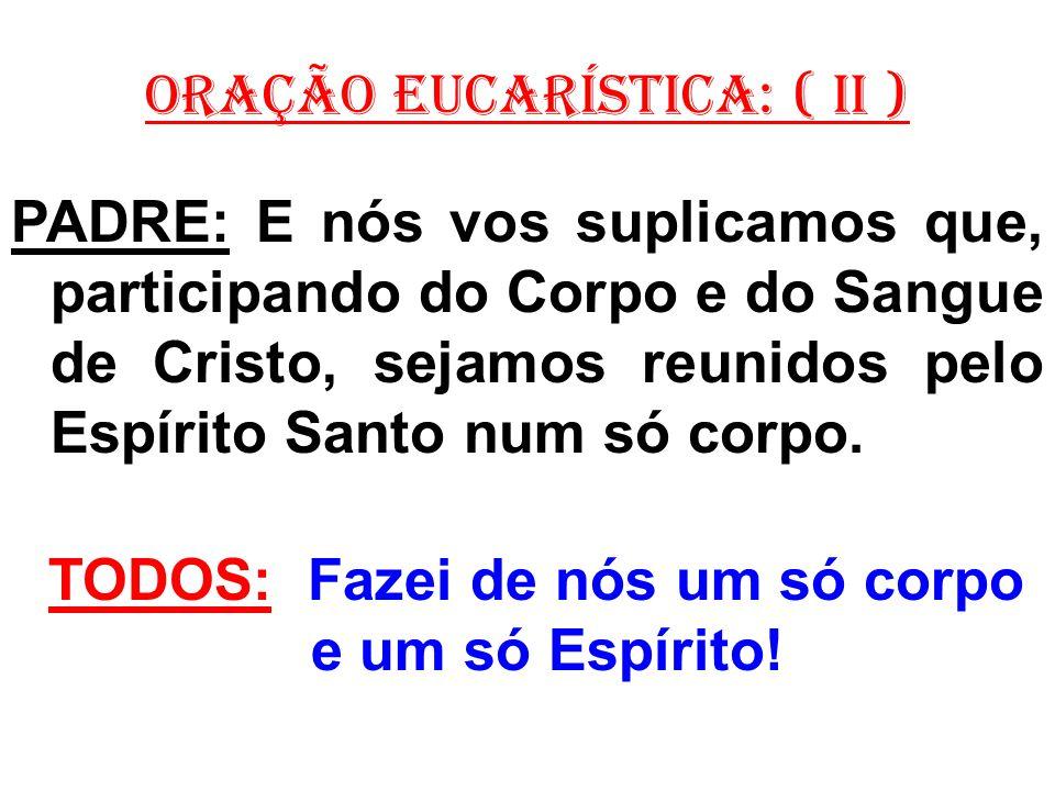ORAÇÃO EUCARÍSTICA: ( II ) PADRE: E nós vos suplicamos que, participando do Corpo e do Sangue de Cristo, sejamos reunidos pelo Espírito Santo num só c