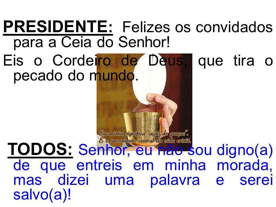 PRESIDENTE : Felizes os convidados para a Ceia do Senhor! Eis o Cordeiro de Deus, que tira o pecado do mundo. TODOS: Senhor, eu não sou digno(a) de qu