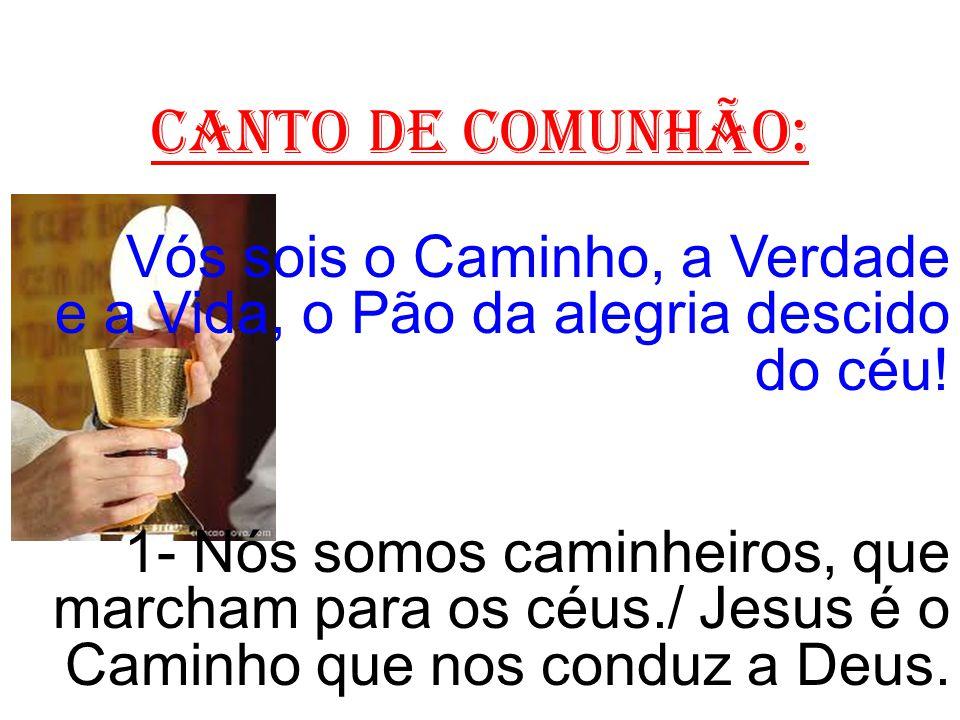CANTO DE COMUNHÃO: Vós sois o Caminho, a Verdade e a Vida, o Pão da alegria descido do céu! 1- Nós somos caminheiros, que marcham para os céus./ Jesus