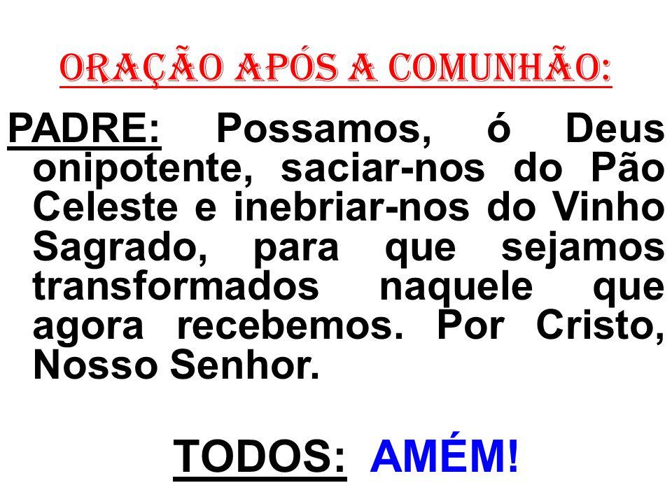 ORAÇÃO APÓS A COMUNHÃO: PADRE: Possamos, ó Deus onipotente, saciar-nos do Pão Celeste e inebriar-nos do Vinho Sagrado, para que sejamos transformados