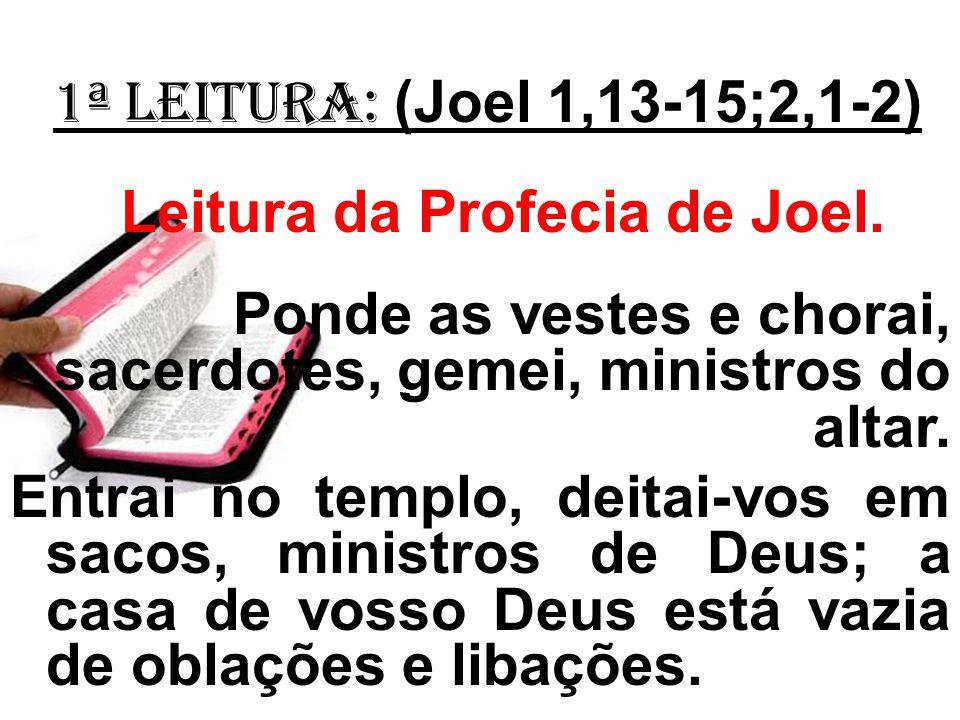 1ª LEITURA: (Joel 1,13-15;2,1-2) Leitura da Profecia de Joel. Ponde as vestes e chorai, sacerdotes, gemei, ministros do altar. Entrai no templo, deita