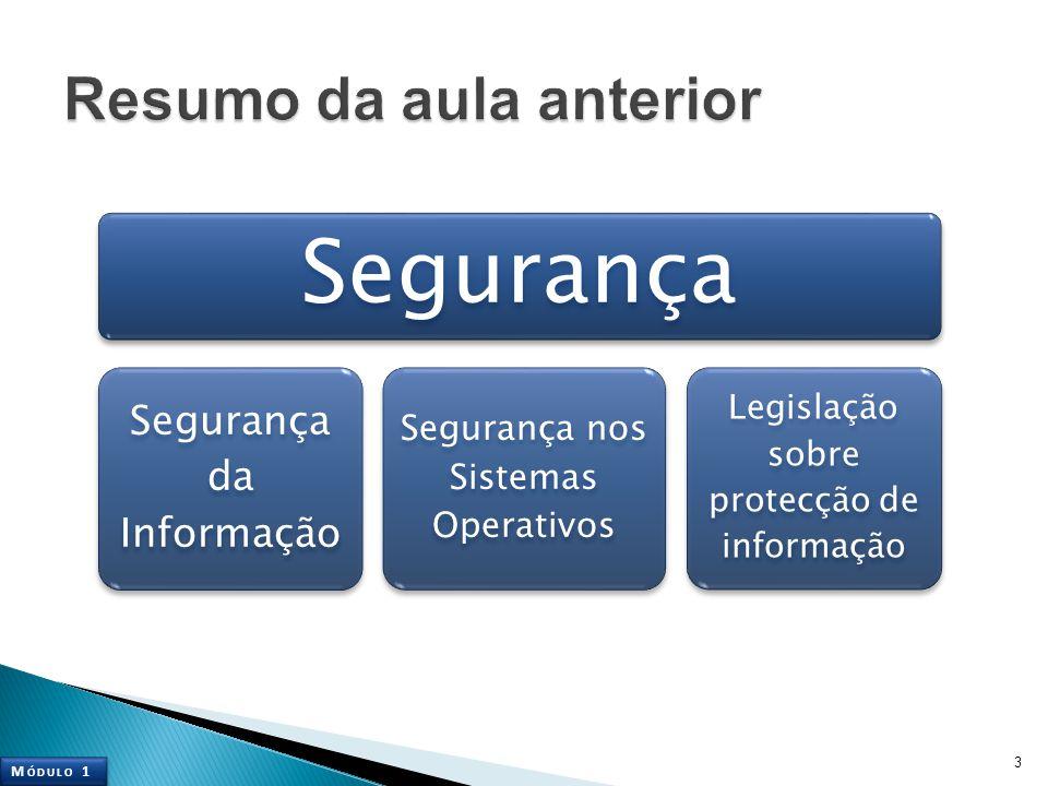 3 Segurança Segurança da Informação Segurança nos Sistemas Operativos Legislação sobre protecção de informação