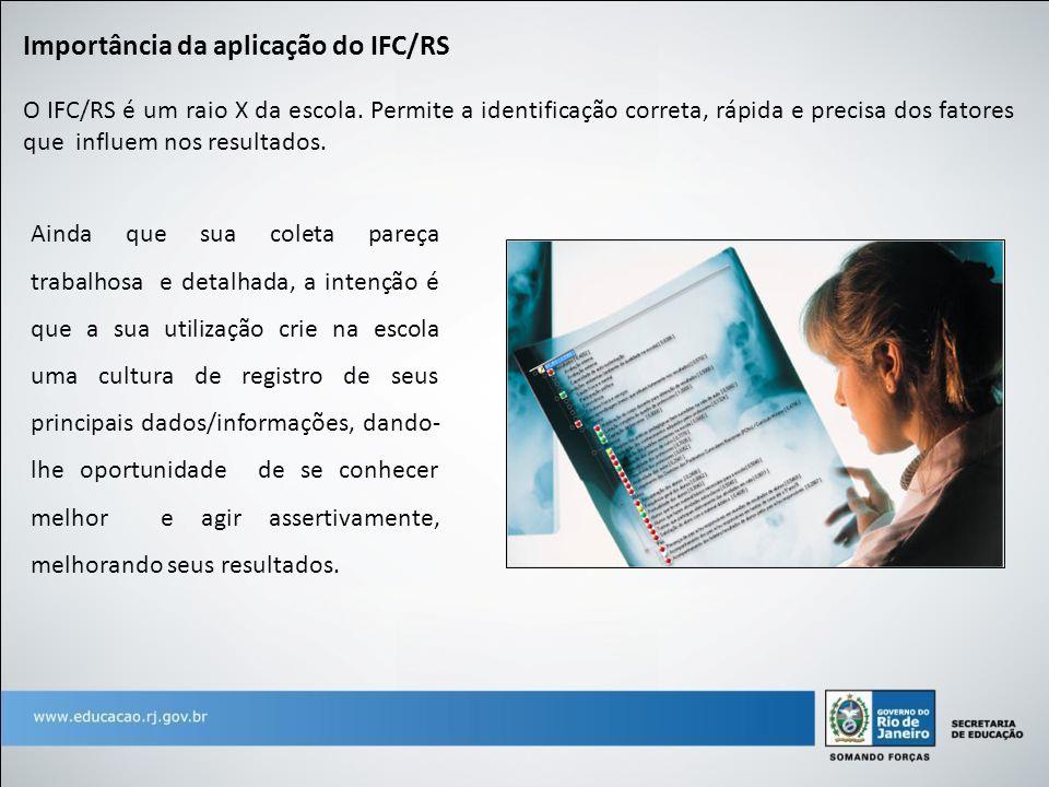 O IFC/RS é um raio X da escola. Permite a identificação correta, rápida e precisa dos fatores que influem nos resultados. Importância da aplicação do