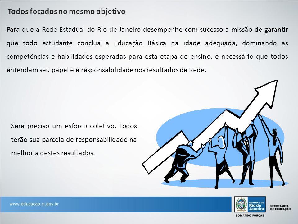 Todos focados no mesmo objetivo Para que a Rede Estadual do Rio de Janeiro desempenhe com sucesso a missão de garantir que todo estudante conclua a Ed
