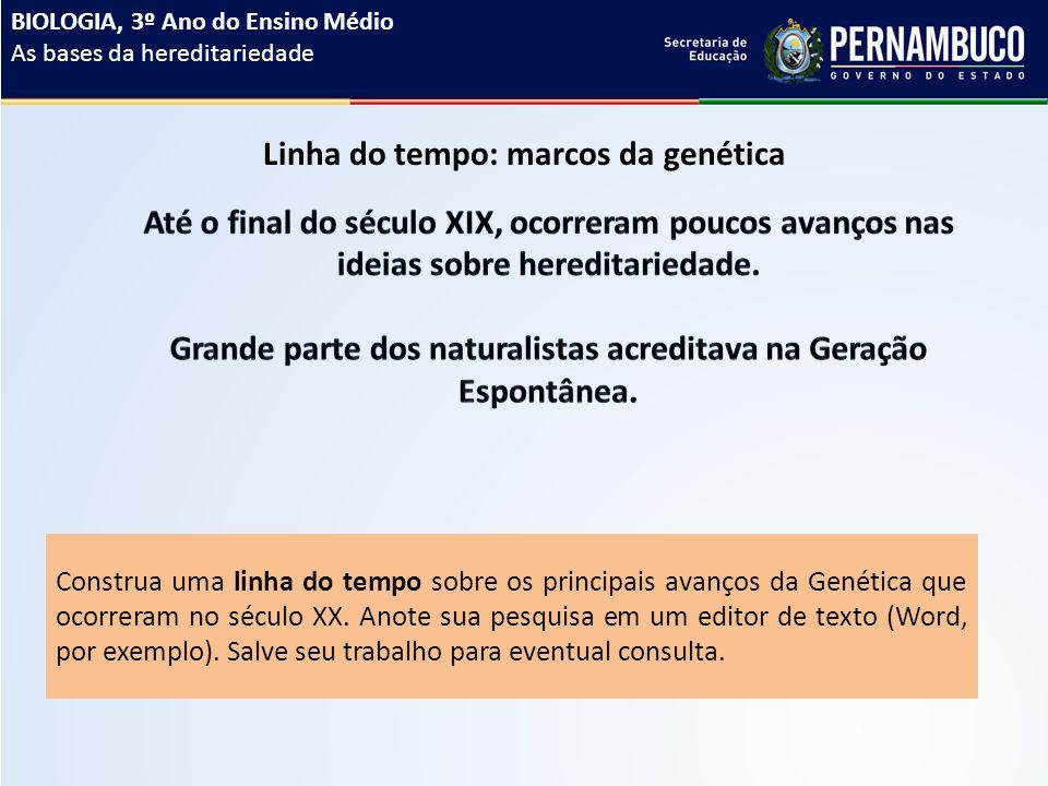 Linha do tempo: marcos da genética Construa uma linha do tempo sobre os principais avanços da Genética que ocorreram no século XX.
