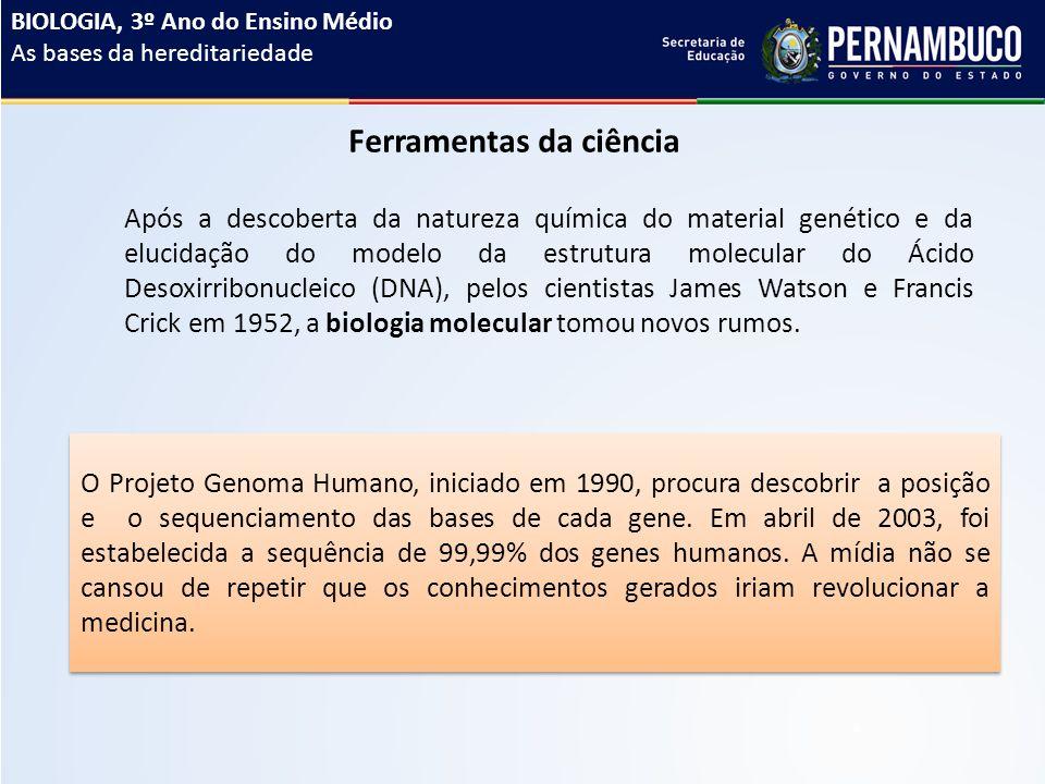 Ferramentas da ciência Após a descoberta da natureza química do material genético e da elucidação do modelo da estrutura molecular do Ácido Desoxirribonucleico (DNA), pelos cientistas James Watson e Francis Crick em 1952, a biologia molecular tomou novos rumos.