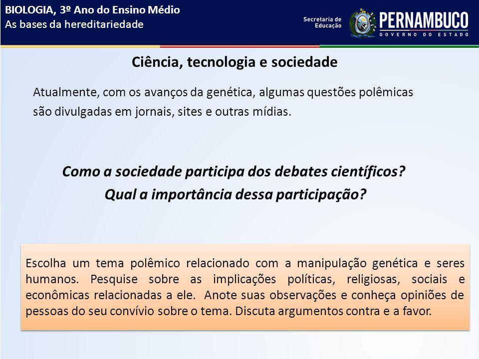 Ciência, tecnologia e sociedade Atualmente, com os avanços da genética, algumas questões polêmicas são divulgadas em jornais, sites e outras mídias.