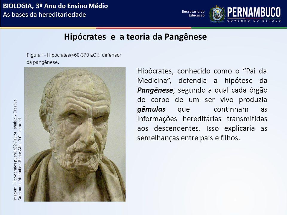 Hipócrates e a teoria da Pangênese Hipócrates, conhecido como o Pai da Medicina , defendia a hipótese da Pangênese, segundo a qual cada órgão do corpo de um ser vivo produzia gêmulas que continham as informações hereditárias transmitidas aos descendentes.