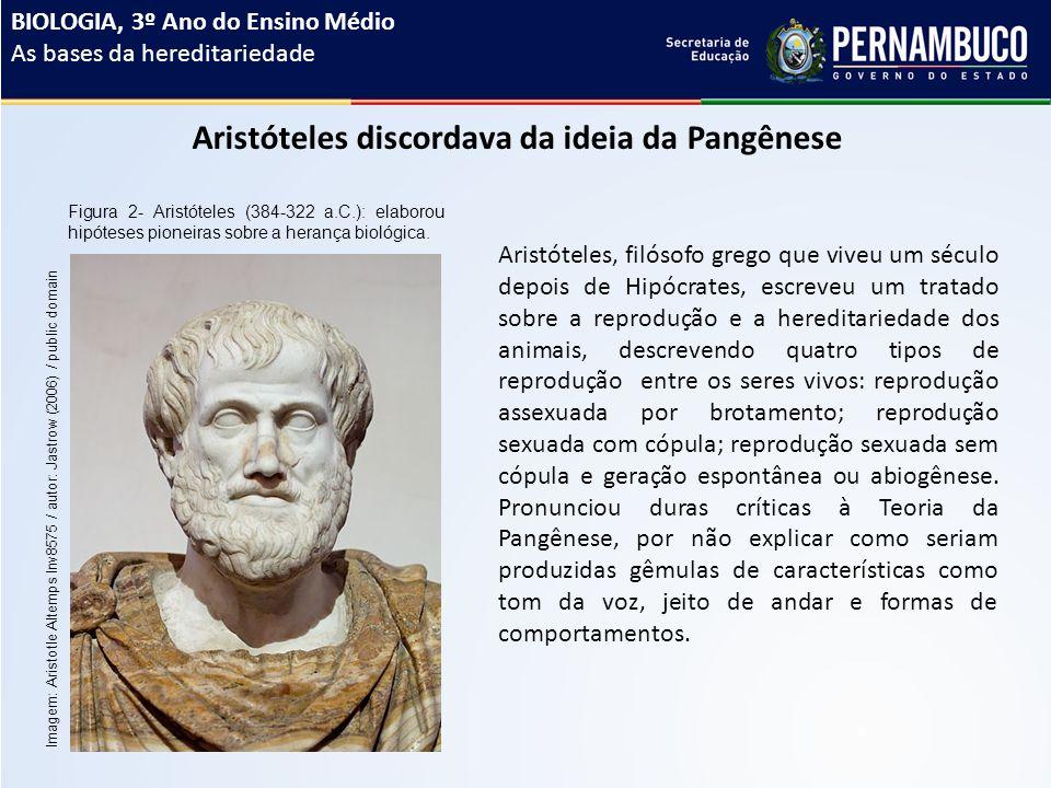 Aristóteles discordava da ideia da Pangênese Figura 2- Aristóteles (384-322 a.C.): elaborou hipóteses pioneiras sobre a herança biológica.