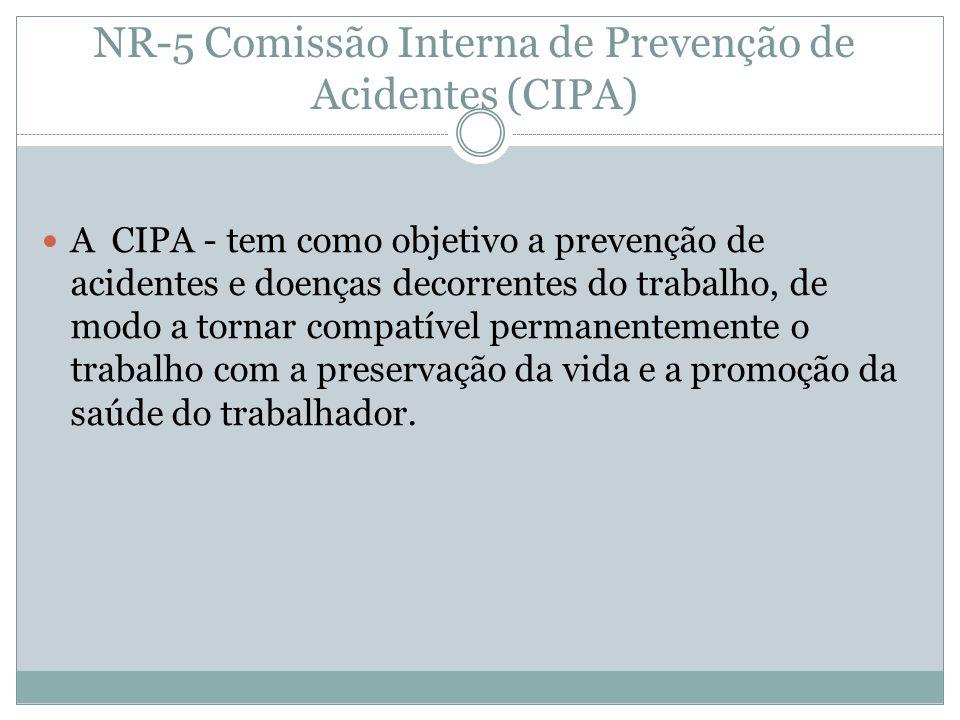 NR-5 Comissão Interna de Prevenção de Acidentes (CIPA) A CIPA - tem como objetivo a prevenção de acidentes e doenças decorrentes do trabalho, de modo a tornar compatível permanentemente o trabalho com a preservação da vida e a promoção da saúde do trabalhador.