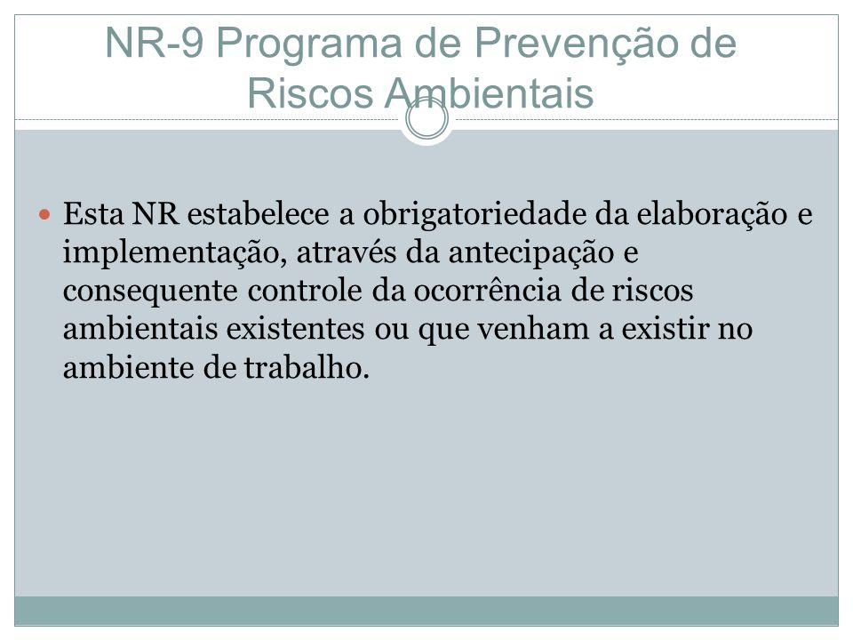 NR-9 Programa de Prevenção de Riscos Ambientais Esta NR estabelece a obrigatoriedade da elaboração e implementação, através da antecipação e consequente controle da ocorrência de riscos ambientais existentes ou que venham a existir no ambiente de trabalho.