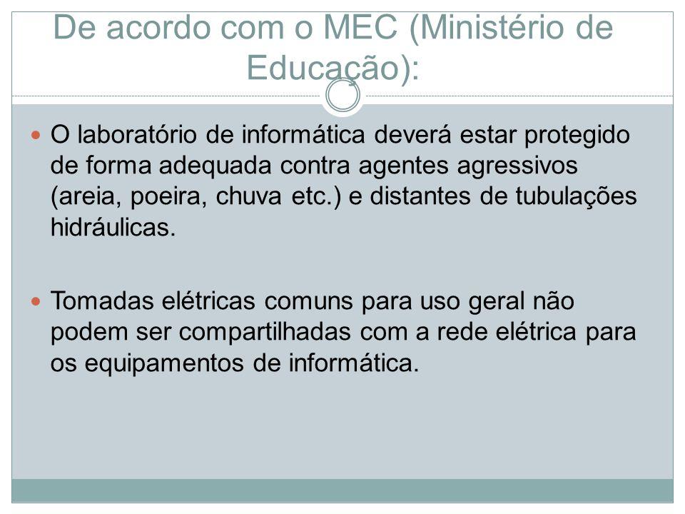De acordo com o MEC (Ministério de Educação): O laboratório de informática deverá estar protegido de forma adequada contra agentes agressivos (areia, poeira, chuva etc.) e distantes de tubulações hidráulicas.