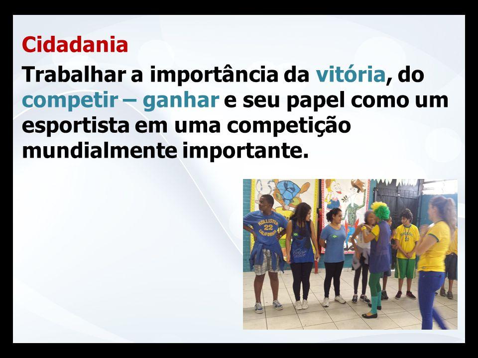 Cidadania Trabalhar a importância da vitória, do competir – ganhar e seu papel como um esportista em uma competição mundialmente importante.