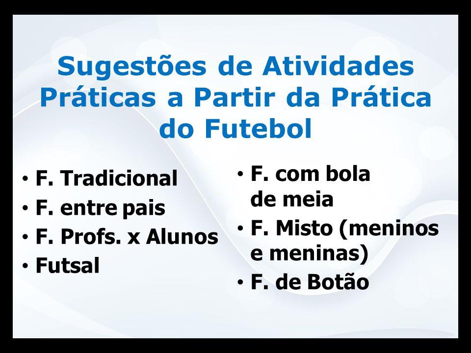 Sugestões de Atividades Práticas a Partir da Prática do Futebol F. Tradicional F. entre pais F. Profs. x Alunos Futsal F. com bola de meia F. Misto (m