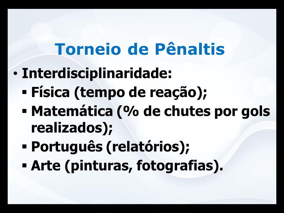 Interdisciplinaridade:  Física (tempo de reação);  Matemática (% de chutes por gols realizados);  Português (relatórios);  Arte (pinturas, fotogra