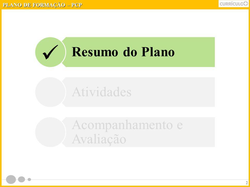 2 Resumo do Plano Atividades Acompanhamento e Avaliação PLANO DE FORMAÇÃO – PCP