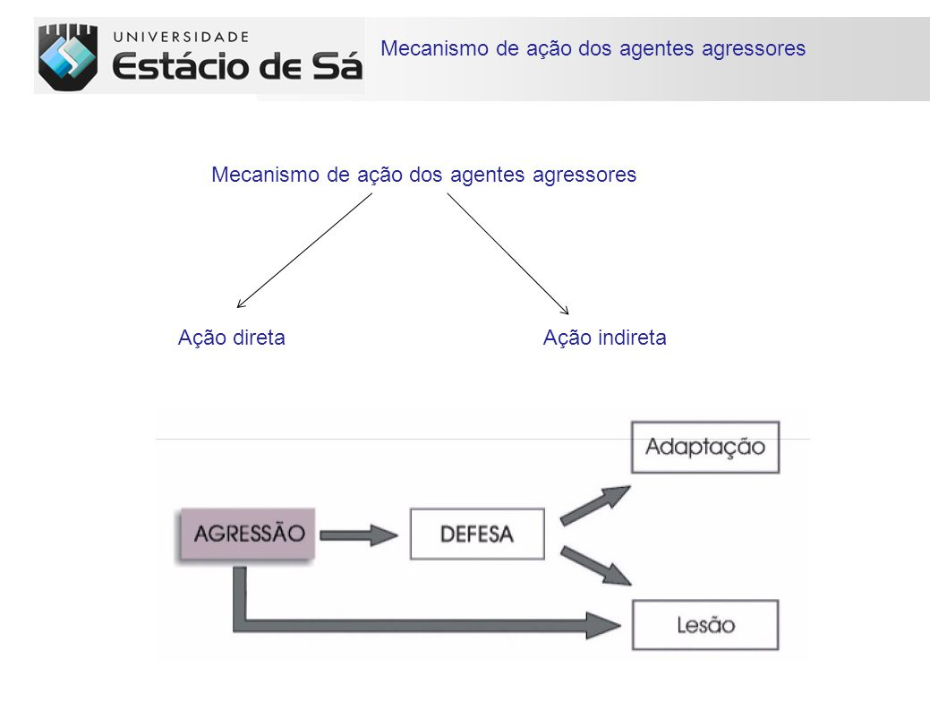 Mecanismo de ação dos agentes agressores Mecanismo de ação dos agentes agressores Ação diretaAção indireta