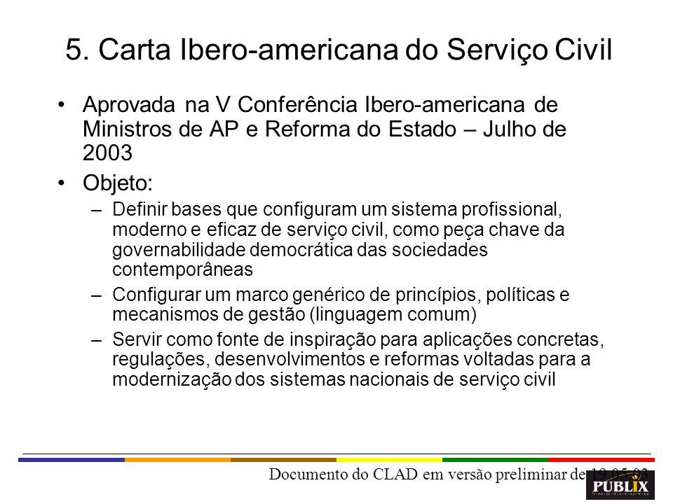 15 5. Carta Ibero-americana do Serviço Civil Aprovada na V Conferência Ibero-americana de Ministros de AP e Reforma do Estado – Julho de 2003 Objeto: