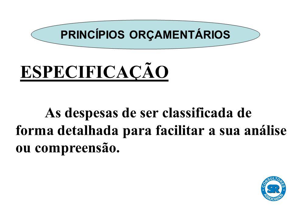ESPECIFICAÇÃO As despesas de ser classificada de forma detalhada para facilitar a sua análise ou compreensão.