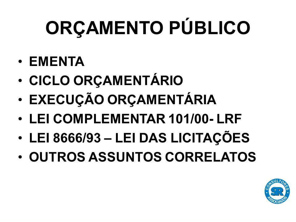 ORÇAMENTO PÚBLICO EMENTA CICLO ORÇAMENTÁRIO EXECUÇÃO ORÇAMENTÁRIA LEI COMPLEMENTAR 101/00- LRF LEI 8666/93 – LEI DAS LICITAÇÕES OUTROS ASSUNTOS CORRELATOS