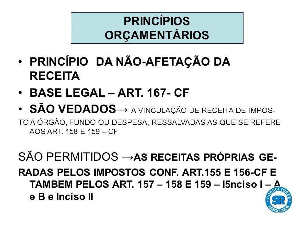 PRINCÍPIO DA NÃO-AFETAÇÃO DA RECEITA BASE LEGAL – ART.