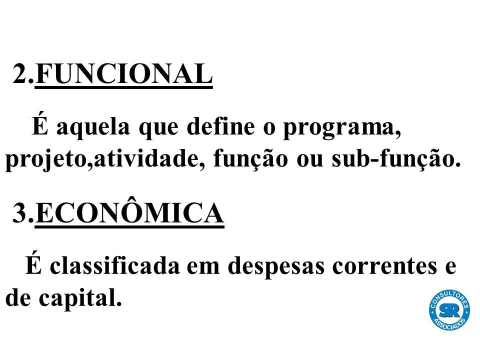 2.FUNCIONAL É aquela que define o programa, projeto,atividade, função ou sub-função.