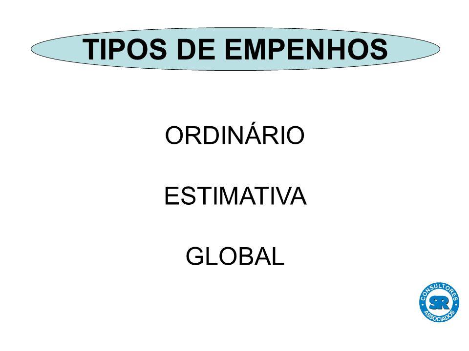 ORDINÁRIO ESTIMATIVA GLOBAL TIPOS DE EMPENHOS
