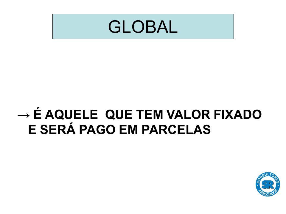 → É AQUELE QUE TEM VALOR FIXADO E SERÁ PAGO EM PARCELAS GLOBAL