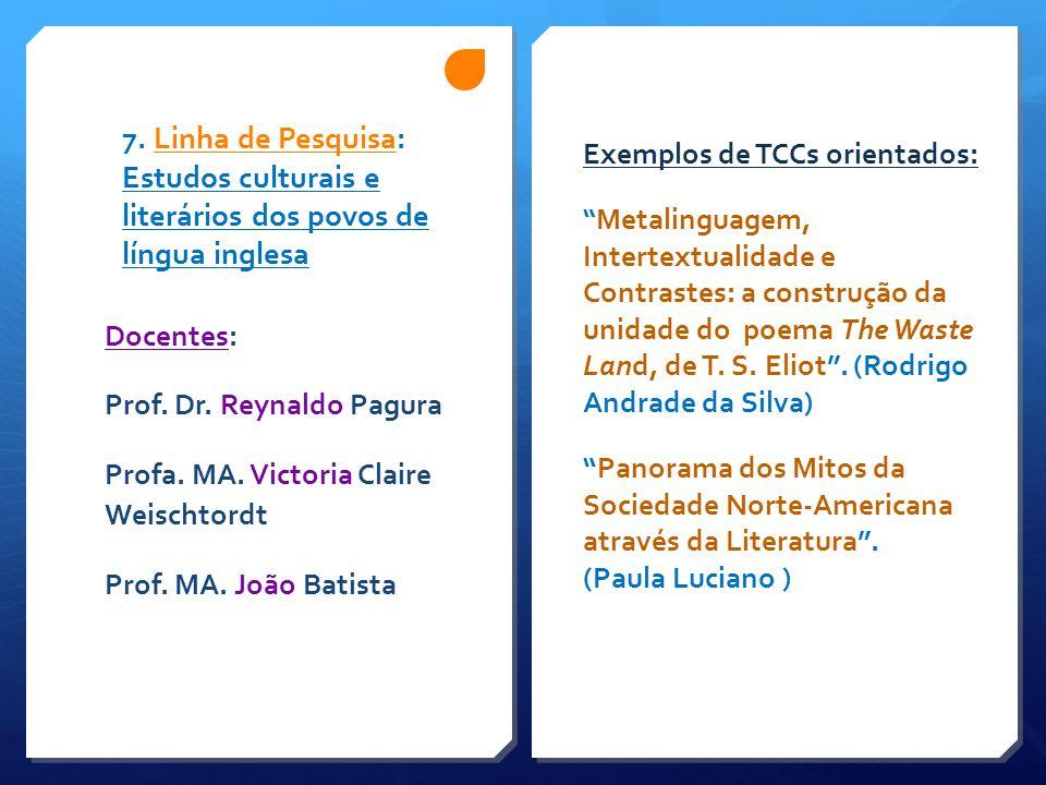 """7. Linha de Pesquisa: Estudos culturais e literários dos povos de língua inglesa Exemplos de TCCs orientados: """" Metalinguagem, Intertextualidade e Con"""
