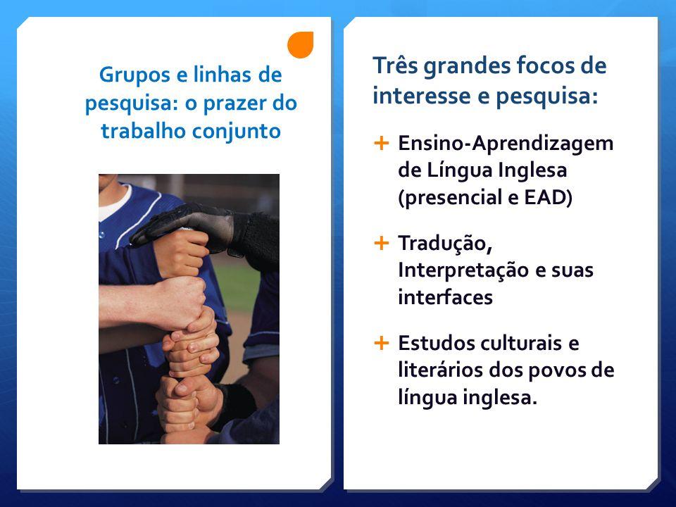 Grupos e linhas de pesquisa: o prazer do trabalho conjunto Três grandes focos de interesse e pesquisa:  Ensino-Aprendizagem de Língua Inglesa (presen