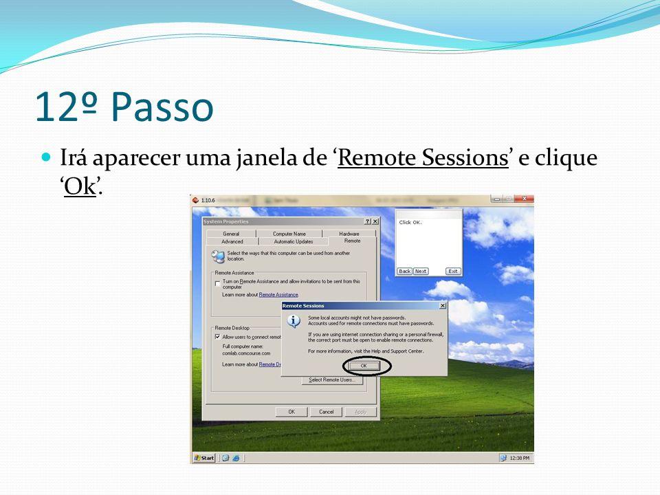 12º Passo Irá aparecer uma janela de 'Remote Sessions' e clique 'Ok'.