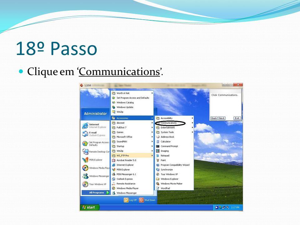 18º Passo Clique em 'Communications '.