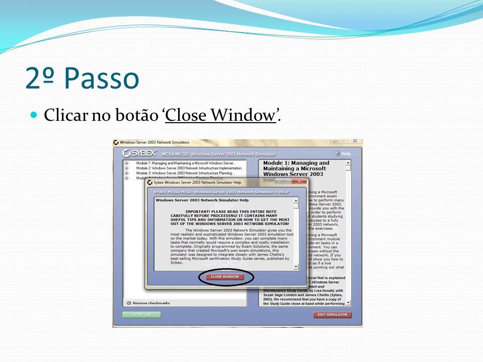 2º Passo Clicar no botão 'Close Window'.