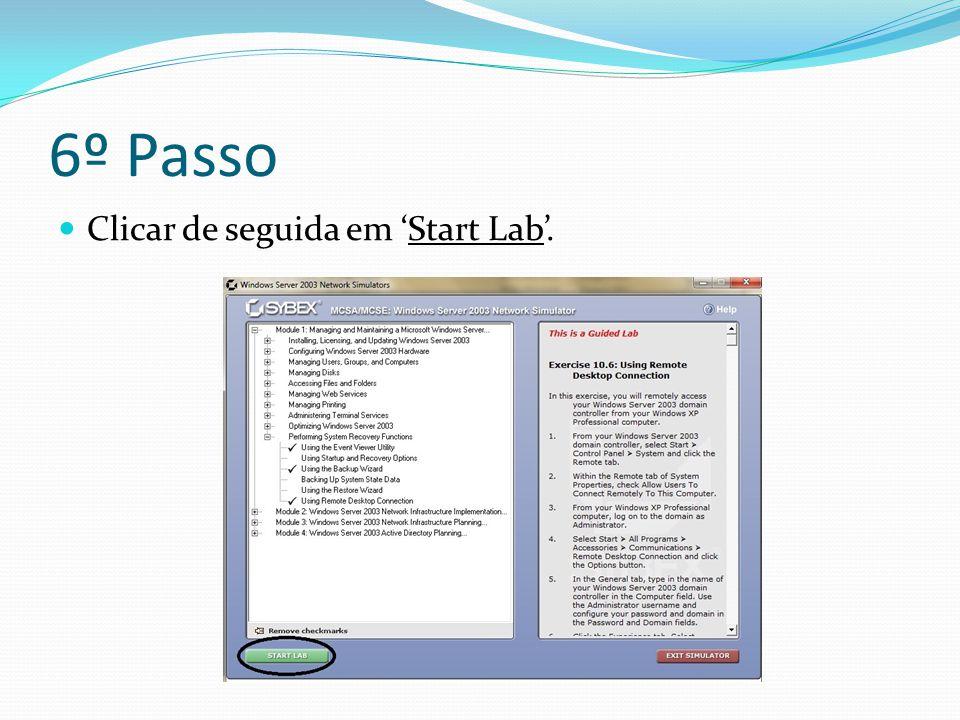 6º Passo Clicar de seguida em 'Start Lab'.