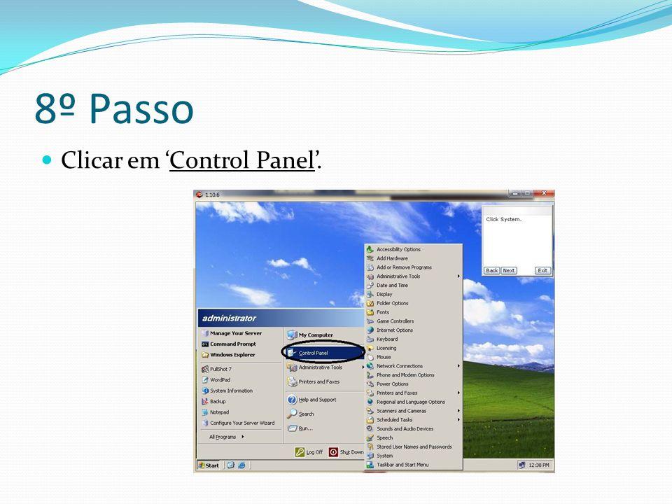 8º Passo Clicar em 'Control Panel'.