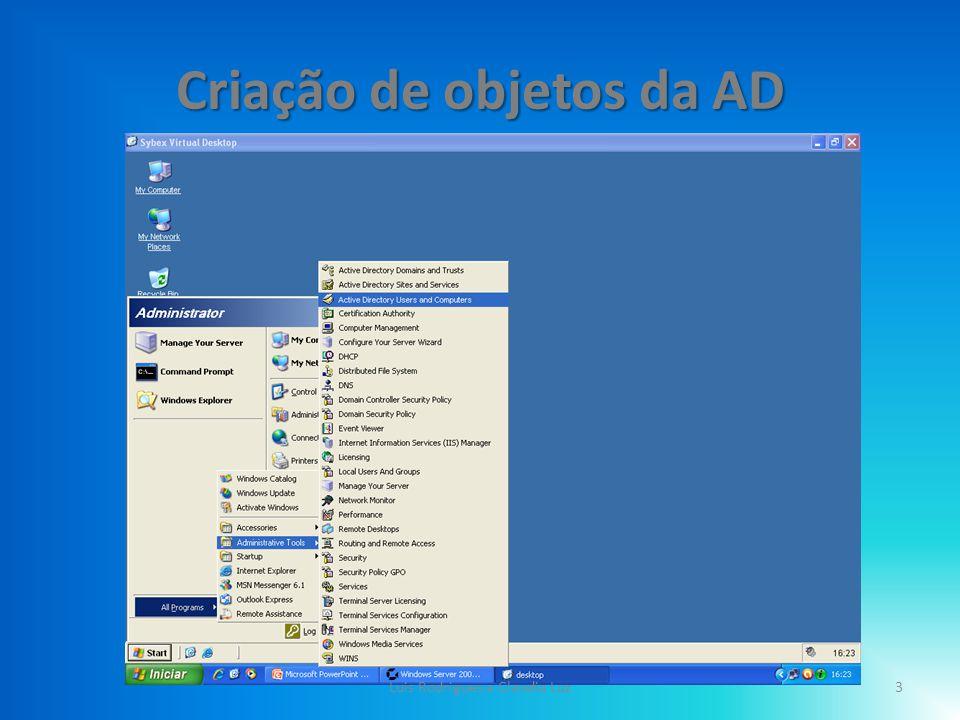 Criação de objetos da AD Depois de Abrir o simulador Sybex; – Vá ao Menu Iniciar; – Clique em (All Programs); – Clique em (Administrative Tools); – E de seguida em (Active Directory Users and Computers); 4Luis Rodrigues e Claudia Luz