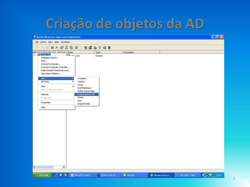 Criação de objetos da AD Clicar no Servidor com o lado direito do rato; – Clicar em New ; – Clicar Organizacional Unit 6Luis Rodrigues e Claudia Luz